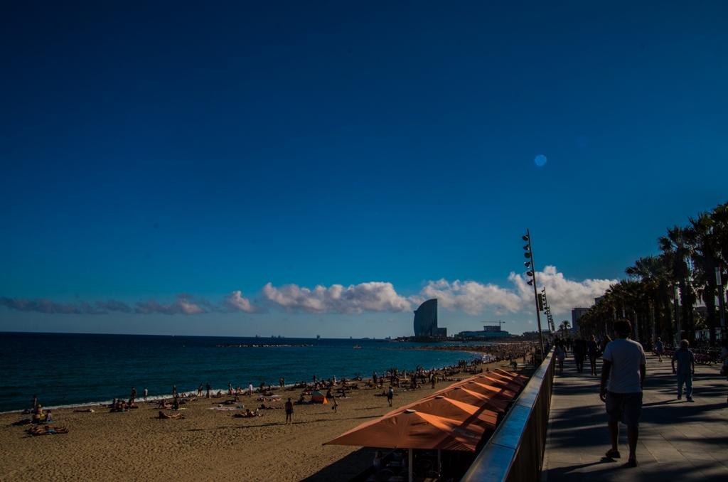 Passeig Maritim, o esplanada frumoasa si eleganta, strajuita de palmieri, care te poate duce spre hotelul W (cladirea sub forma de vela, din capat), centrul comercial MareMagnum sau acvariul. Nu le-am vizitat, insa.